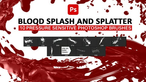 10 Blood splash and splatter photoshop brushes.