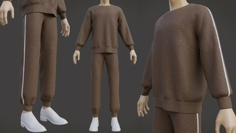 Male Tracksuit - Sweater and Joggers Trackset outfit 3D model