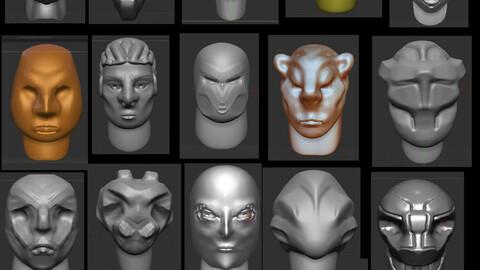 ZBrush IMM Brush Head Sculpts