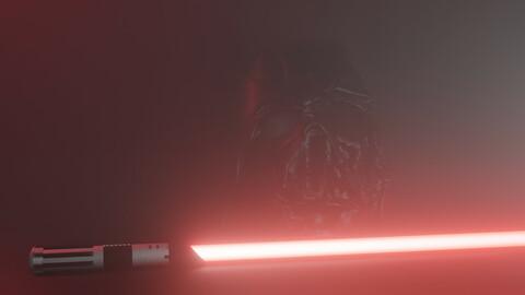 Darth Vader Light Siber Low-poly 3D model
