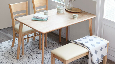 Pure rubber wood solid wood 4 table set