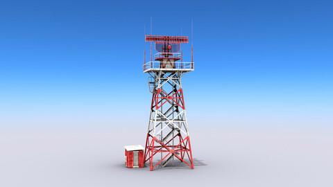 Big Radar Tower Low-poly 3D model