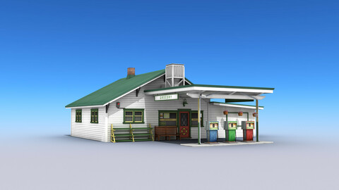 Gas Station With Grocery Low-poly 3D model