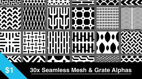 30x Seamless 4K Mesh & Grate Alphas