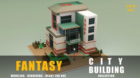 boutique shop fantasy building collection low poly city