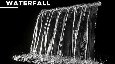 High Resolution Animated Waterfall 10 seconds 3D model