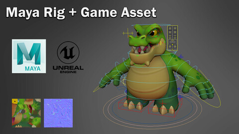 Stylized Crocodile - Maya Rig + Game Asset
