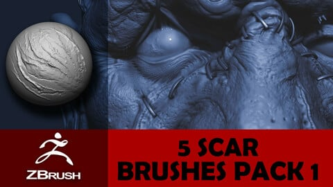 5 Scar Brushes for Zbrush Pack 1