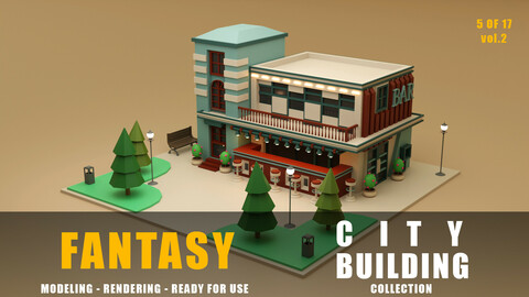 Bar fantasy building collection low poly city