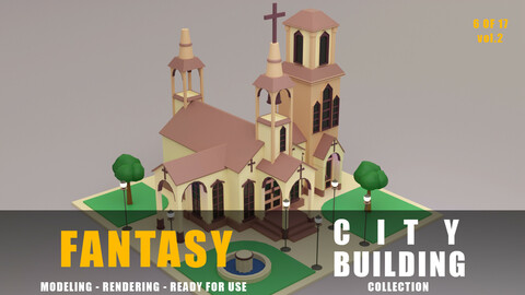 church fantasy building collection low poly city