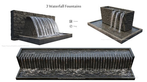 Waterfall fountains wide rock panel