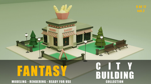bakery fantasy building collection low poly city