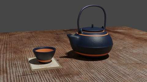 Teapot and Cup Low-Poly model