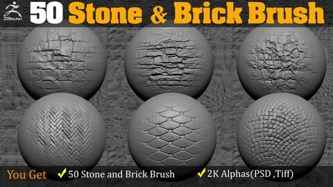 50 Stone & Brick Alpha and brush