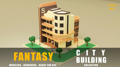 Company fantasy building collection low poly city