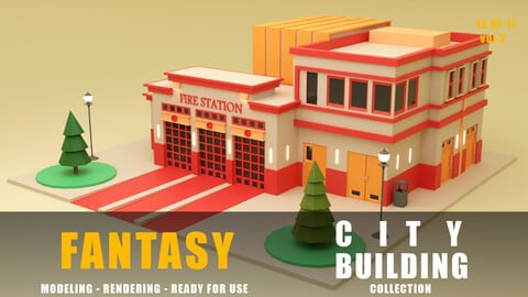 fire station fantasy building collection low poly city