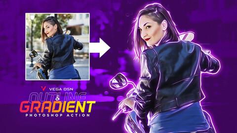 Outline & Gradient Photo Effect Photoshop Action