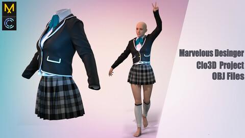 Girl in school outfit / Marvelous Desinger/Clo3D Project+OBJ File