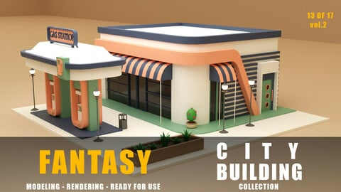 gas station fantasy building collection low poly city