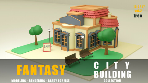 Store fantasy building collection low poly city
