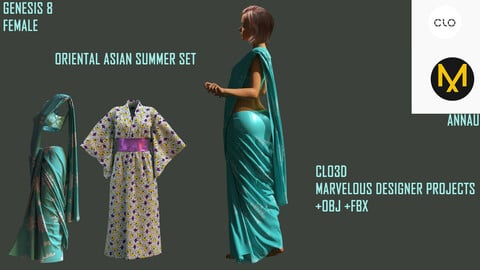 GENESIS 8 FEMALE: ORIENTAL ASIAN SUMMER SET: SARI, YUKATA: CLO3D, MARVELOUS DESIGNER PROJECT: Extended Commercial License| +OBJ +FBX