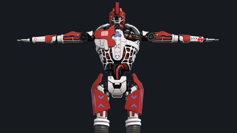 Robot humanoid A-003 Free low-poly 3D model