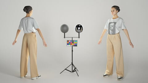 Young woman in beige trousers ready for animation 339