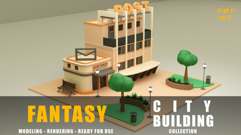 Post office fantasy building collection low poly city