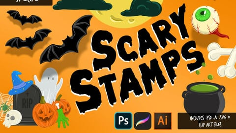 Scary Stamps Halloween Special - Procreate Brushes & Vector Files