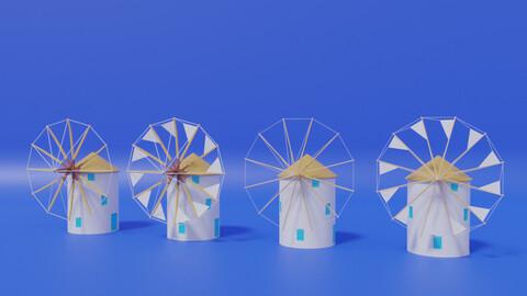 Cartoon Greek Windmill Collection 3D model