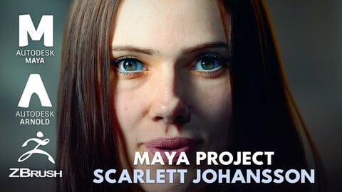 Scarlett Johansson MAYA PROJECT +OBJ, FBX