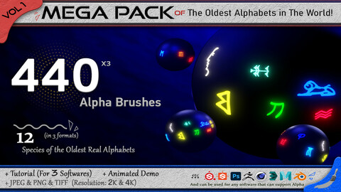 440 Alpha Brushes of The Oldest Alphabets in the World (Mega Pack) + 3 video Tutorial - VOL 1