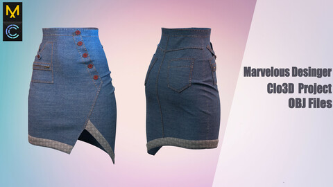 Denim skirt /Marvelous Desinger/Clo3D Project+OBJ File