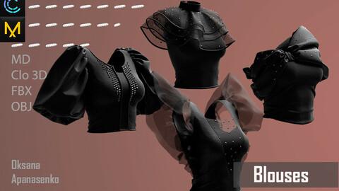 Blouses. Clo 3D/MD project + OBJ, FBX files