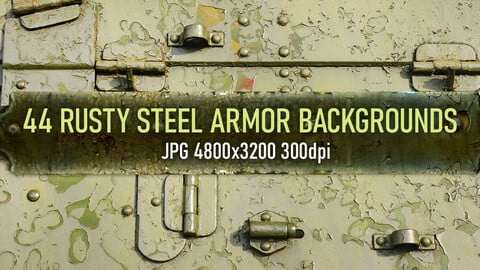 44 worn, rusty metal vehicle armor elements and surface photo texture backgrounds.