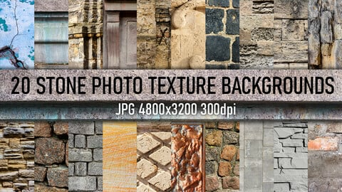 20 Stone tile, walls, architecture elements and surface photo texture backgrounds.