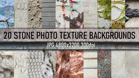 20 Stone wall, tile, marble and cracks photo texture background.