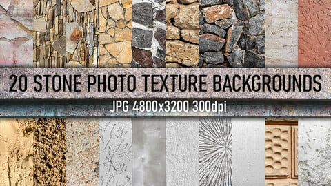 20 stone tile, wall and decorative stucco photo texture backgrounds.