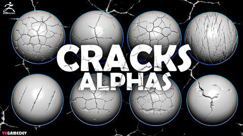 30 Cracks Alphas for Zbrush