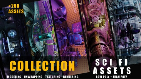 Sci-fi kitbash assets collection  with textures