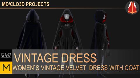 Women`s vintage dress with coat