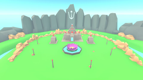 Ancient Lotus temple - low poly game environment