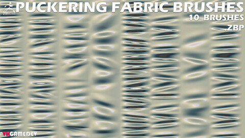 10 Puckering Fabric Brushes for ZBrush