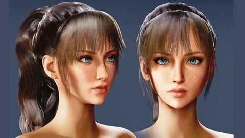 Game Ready Ponytail  Hairstyle - Realtime Low Poly 3D Model