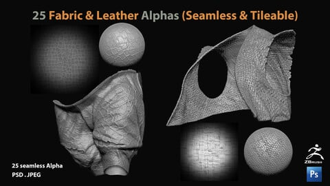 25 Fabric & Leather Alphas (Seamless & Tileable)