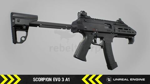 Scorpion EVO 3 A1 - Animated FPS Weapon [ Unreal Engine ]