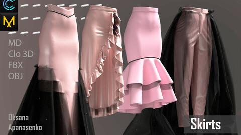 Skirts. Clo 3D/MD project + OBJ, FBX files
