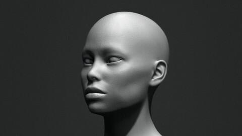 Asian Bust Head Base Mesh