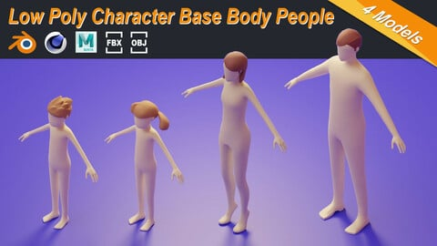 Low Poly 3D Character Base Body People Illustration Set