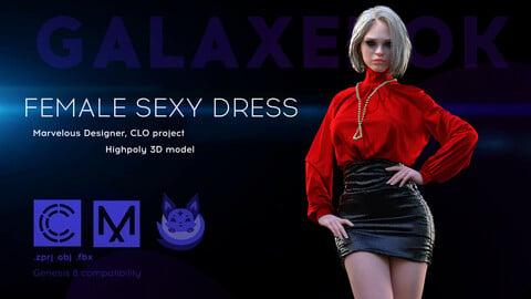 Female Sexy Dress. Avatar genesis 8 Female. Marvelous Designer, Clo3d project. OBJ.FBX files